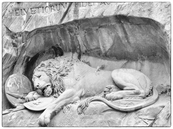 The Lion Monument in Lucerne , Switzerland.